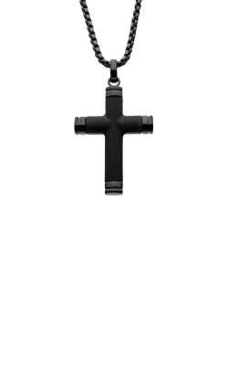 Inox Ebony Wood Black Plated Cross Necklace SSP008FNK1 product image