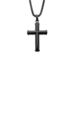 Inox Stainless Steel Black 24 Inch Apostle Cross Necklace SSP009CNK1 product image