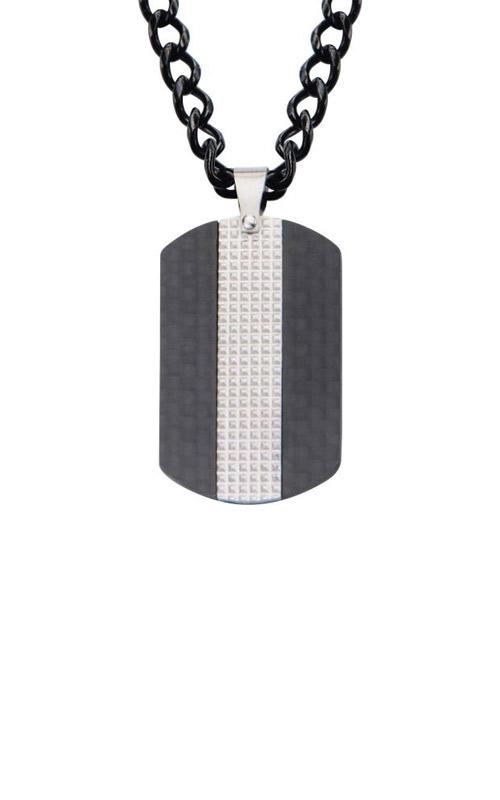 Inox Black Carbon Fiber Dog Tag Pendant SSP18001NK1 product image