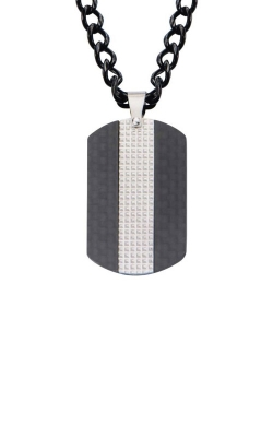Inox Black Carbon Fiber Dog Tag Pendant SSP18001NK1 product image