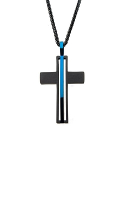 Inox Stainless Steel Black and Blue Cross Pendant SSP18016NK product image
