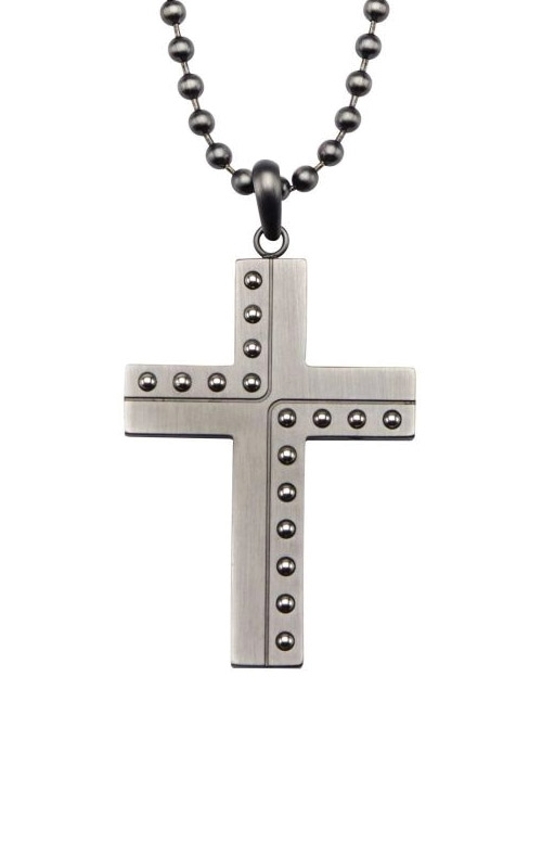 Inox Stainless Steel Gun Metal Beaded Cross Pendant SSP18612GMNK product image