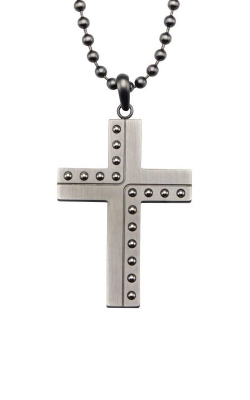Inox Stainless Steel Gun Metal Beaded Cross Pendant SSP18612GMNK product image