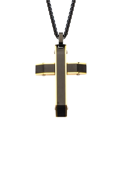Inox Gold and Black Plated Cross Pendant SSP19556NK product image