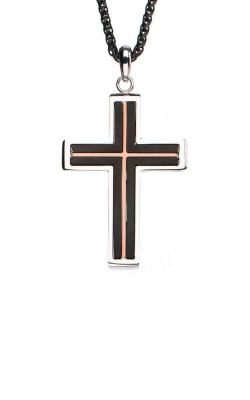 Inox Stainless Black & Rose Cross Pendant SSP195771NK product image