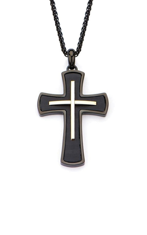Inox Stainless Steel Black & Rose Cross Pendant SSP19757NK product image