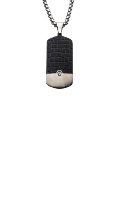 Inox Stainless Steel Black Crocodile Dog Tag Necklace SSP206NK1 product image