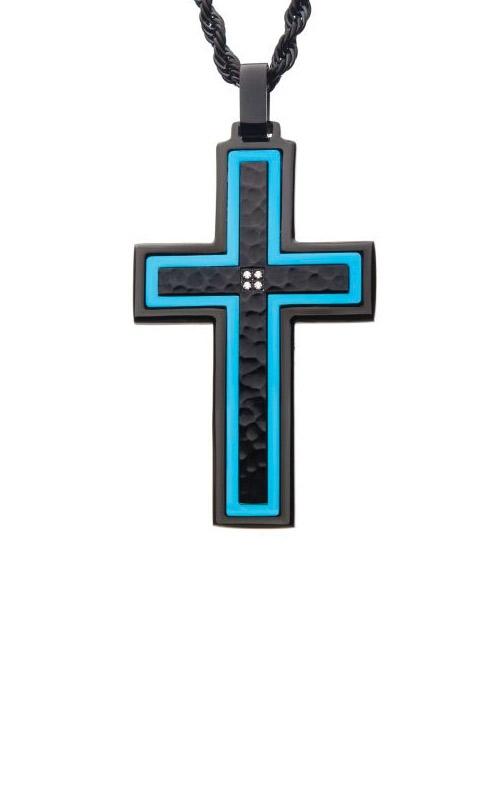 Inox Black & Blue Hammered Cross CZ Pendant SSP20975KBNK1 product image