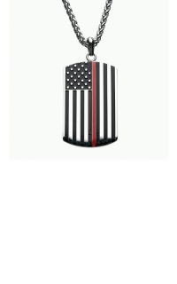 Inox Thin Red Line American Flag Firefighter Military Style Dog Tag SSP21846KREDNKI product image