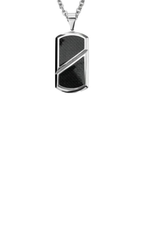 Inox Black Carbon Fiber Inlayed Dog Tag Necklace SSP2409NK1 product image