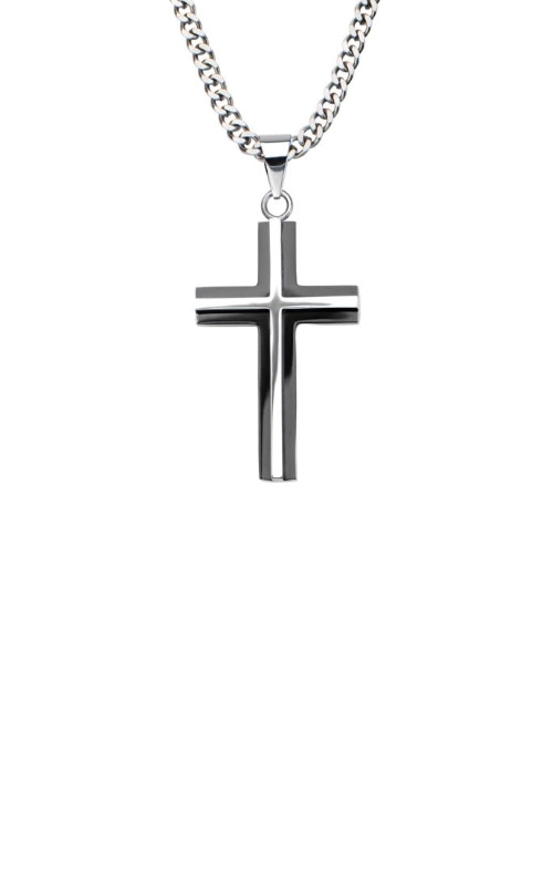 Inox Stainless Steel Black Plated Cross Necklace SSP8915NK product image