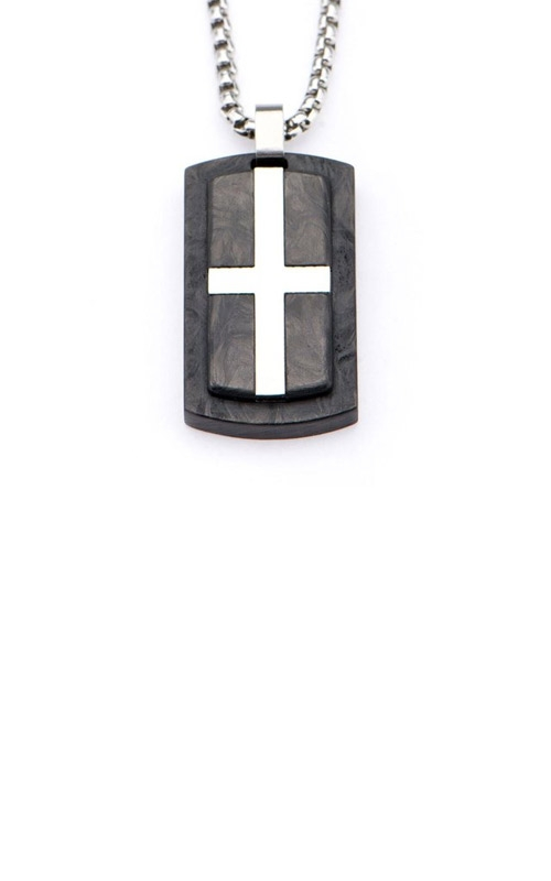 Inox Stainless Steel Carbon Fiber Cross Pendant SSPCF0015NK1 product image