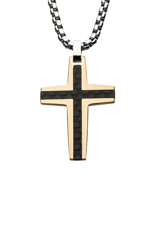 Inox Stainless Steel Rose Gold Plated Carbon Cross Fiber SSPCF0972RGNK1 product image