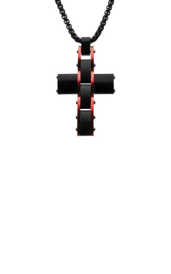 Inox Black And Red Matte Carbon Fiber Cross Necklace SSPCF163RNK1 product image