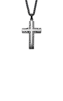 Inox Stainless Steel Black 24 Inch Damascus Cross Necklace SSPDMS0035NK1 product image