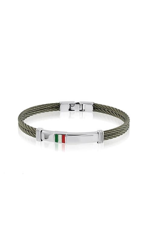 Italgem Steel Stainless Steel Cable Italian Flag ID Bracelet B6052 product image