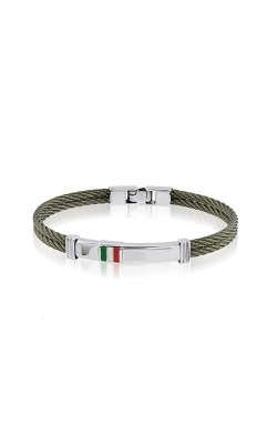 Italgem Steel Stainless Steel Cable Italian Flag ID Bracelet B6052 product image