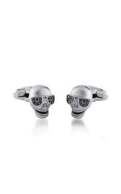 Italgem Steel Stainless Steel Black CZ Skull Cufflinks CL35 product image