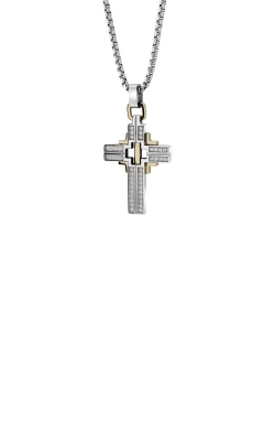 Italgem Steel Stainless Steel And Gold Plated CZ 22 Inch Cross SC58 product image
