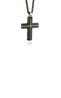 Italgem Steel Stainless Steel Black and Gold Cross Necklace SC77 product image