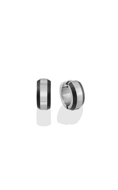 Italgem Steel Stainless Steel Black Huggie Earrings SEA183 product image