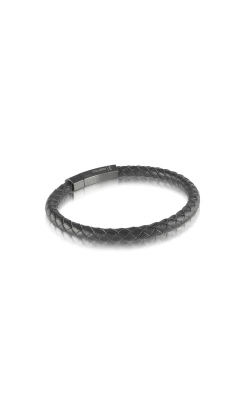 Italgem Steel Stainless Steel Black Leather Bracelet SLB126 product image
