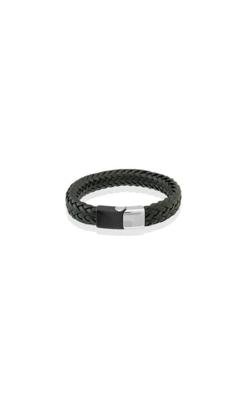 Italgem Steel Stainless Steel Black Leather Bracelet SLB178 product image