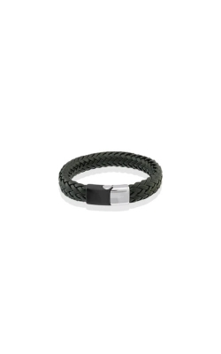 Italgem Steel Stainless Steel Black Leather Bracelet SLB178 product image