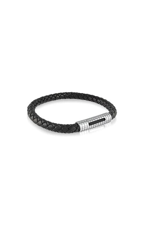 Italgem Steel Stainless Steel Black Leather Bracelet SLB97 product image