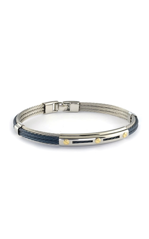 Italgem Steel Stainless Steel 18k Yellow Gold & Blue Cable Bracelet SMBG100 product image