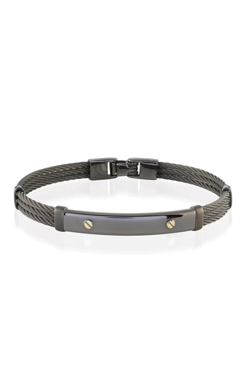 Italgem Steel Stainless Steel 18k Yellow Gold and Black Cable Bracelet SMBG44 product image