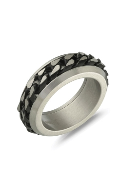 Italgem Steel Stainless Steel Black Curb Link Ring SMR45 - Size 9 product image