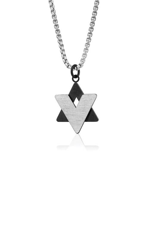 Italgem Steel Stainless Steel Black Star of David Pendant SP155 product image