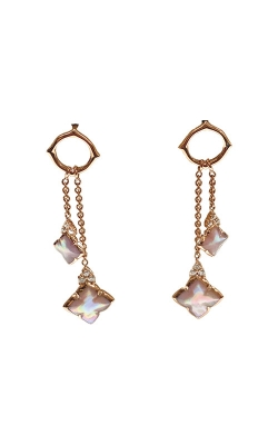 Kabana 14k Rose Gold Pink Mother Of Pearl And Diamond Drop Earrings NECF682MP product image
