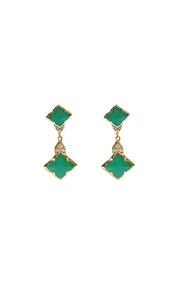 Kabana 14k Yellow Gold Chrysoprase and Diamond Earrings GECF680CP product image