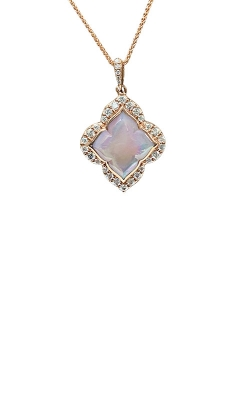 Kabana 14k Rose Gold Pink Mother of Pearl and Diamond Necklace NPIF292MP-CH product image