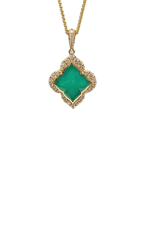 Kabana 14k Yellow Gold Chrysoprase and Diamond Necklace GPIF285CP-CH product image