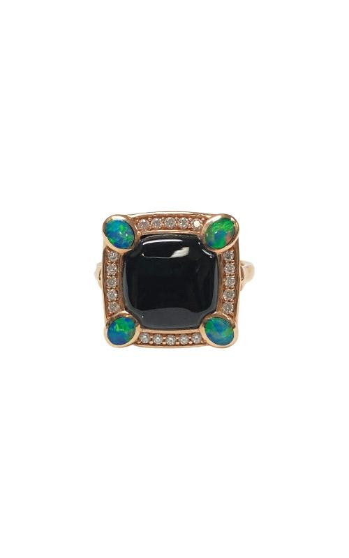 Kabana 14k Rose Gold Onyx and Opal Diamond Ring NRIF7480XXX product image