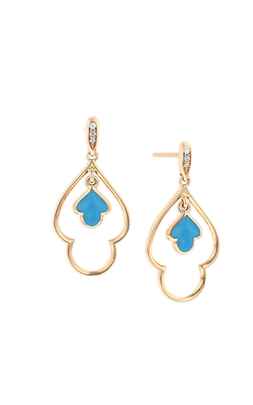Kabana 14k Yellow Gold Turquoise and Diamond Drop Earrings GECF474T product image