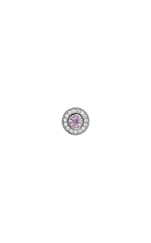 Kelly Waters Platinum Finish Sterling Silver Micropave Round Pink Sapphire Charm BL2300CH10S product image