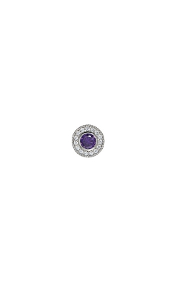 Kelly Waters Platinum Finish Sterling Silver Micropave Round Amethyst Charm BL2300CH2S