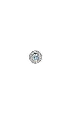 Kelly Waters Platinum Finish Sterling Silver Micropave Round Aquamarine Charm BL2300CH3S product image