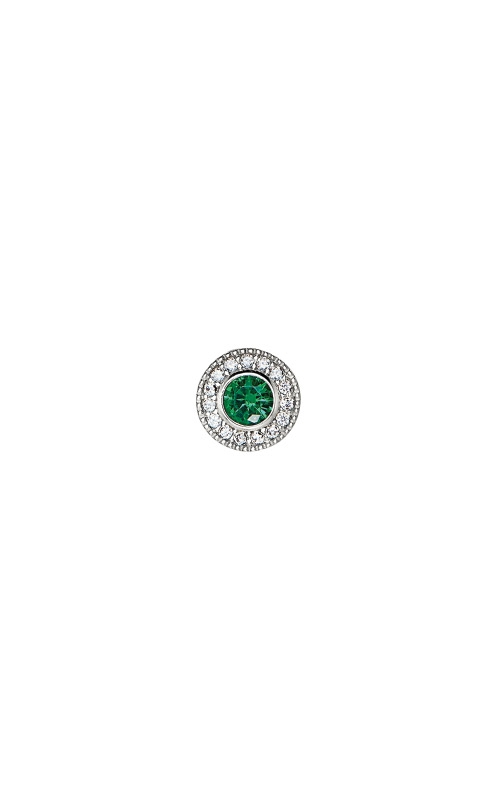 Kelly Waters Platinum Finish Sterling Silver Micropave Round Emerald Charm BL2300CH5S product image