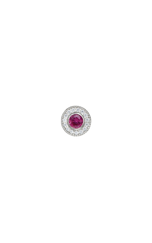 Kelly Waters Platinum Finish Sterling Silver Micropave Round Ruby Charm BL2300CH7S product image