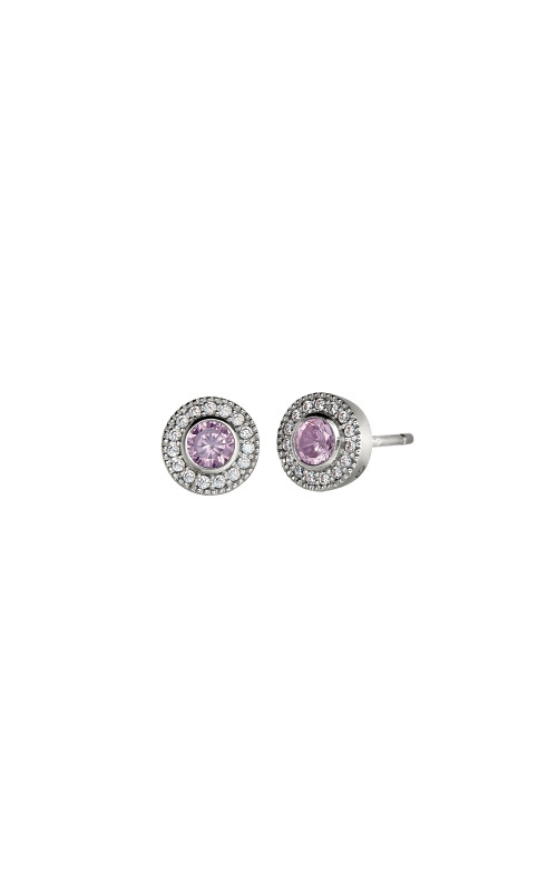Kelly Waters Platinum Finish Sterling Silver Micropave Round Pink Sapphire Earrings BL2300E10S product image