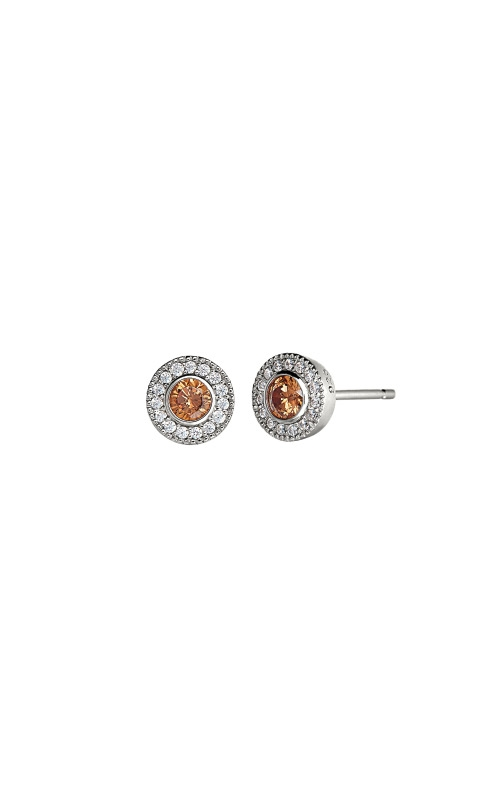 Kelly Waters Platinum Finish Sterling Silver Micropave Round Citrine Earrings BL2300E11S product image