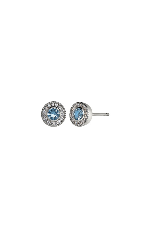 Kelly Waters Platinum Finish Sterling Silver Micropave Round Blue Topaz Earrings BL2300E12S product image