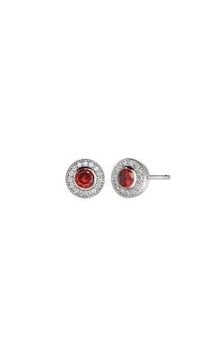 Kelly Waters Platinum Finish Sterling Silver Micropave Round Garnet Earrings BL2300E1S product image