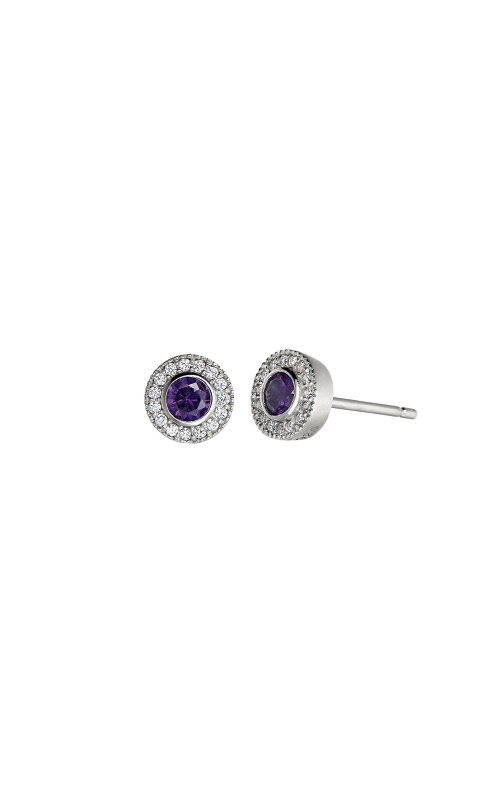 Kelly Waters Platinum Finish Sterling Silver Micropave Round Amethyst Earrings BL2300E2S product image