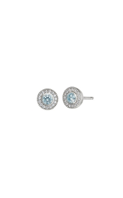 Kelly Waters Platinum Finish Sterling Silver Micropave Round Aquamarine Earrings BL2300E3S product image